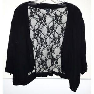 Torrid lace back shrug bolero crop cardigan open